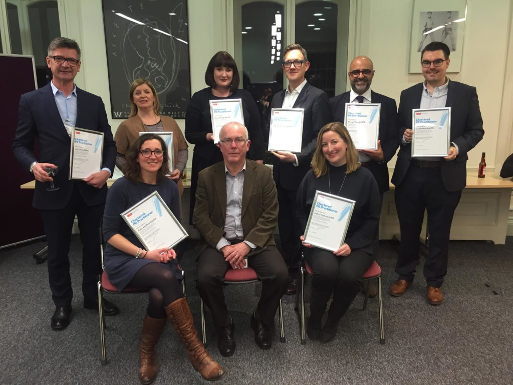 Chartered Assessment day 23 January 2017. Chart.PRs Joris Minne, Maurica Mackle, Sinead Doyle, Edward Venning, Vinny Bolina, Gareth Hern, Katie Marlow, (Paul Noble, Lead Assessor) Sylvie Pender.
